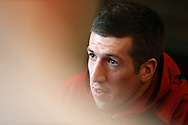 Justin Tipuric of Wales speaks to the press during the Wales Rugby team announcement press conference at the Vale Resort, Hensol near Cardiff, South Wales on Wednesday 8th March 2017. The team are preparing for the the RBS Six nations match against Ireland.  pic by  Andrew Orchard, Andrew Orchard sports photography.