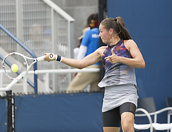 August 31, 2017 - New York, New York, United States - Daria Kasatkina of Russia returns ball during match against Christina McHale of USA at US Open Championships at Billie Jean King National Tennis Center  (Credit Image: © Lev Radin/Pacific Press via ZUMA Wire)