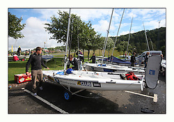 470 Class European Championships Largs - Day 3.Brighter conditions with more wind...Dinghy Park preparations