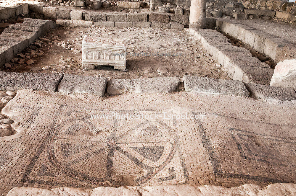 Mosaic floor at the ruins of Magdala (Mejdel) - current day Migdal. On the Sea of Galilee