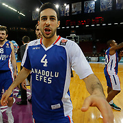 Anadolu Efes's Dogus Balbay celebrate victory during their Turkish Airlines Euroleague Basketball Top 16 Round 11 match Anadolu Efes between Nizhny Novgorod at Abdi ipekci arena in Istanbul, Turkey, Thursday March 19, 2015. Photo by Aykut AKICI/TURKPIX