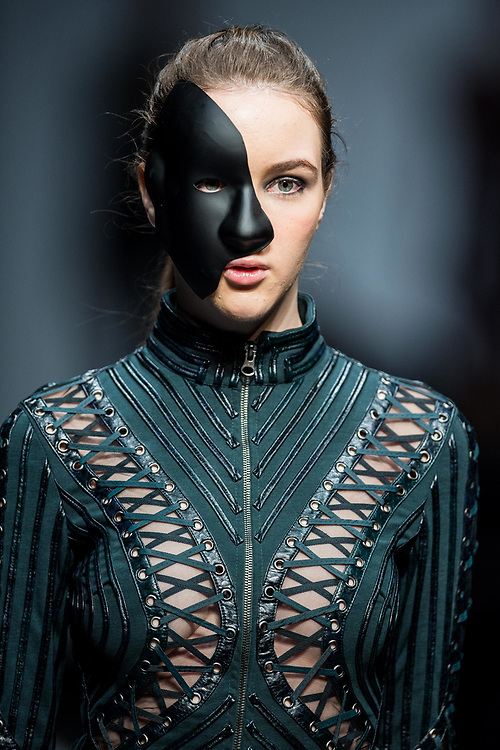 A model showcases designes by Ika Butoni during the Day 1 of the Hong Kong Fashion Week for Fall / Winter 2015 at the Hong Kong Convention and Exhibition Centre on 19 January 2015 in Hong Kong. Photo by Aitor Alcalde / studioEAST.