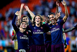 Arsenal's Lucas Torreira (left), Matteo Guendouzi and Pierre-Emerick Aubameyang celebrate the results at the end of the UEFA Europa League, Semi Final, Second Leg at the Camp de Mestalla, Valencia.