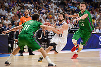 Real Madrid's Sergio Llull and Unicaja Malaga's Dani Diez and Alen Omic during semi finals of playoff Liga Endesa match between Real Madrid and Unicaja Malaga at Wizink Center in Madrid, May 31, 2017. Spain.<br /> (ALTERPHOTOS/BorjaB.Hojas)