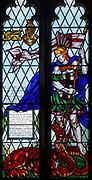 Stained glass window church of Saint Martin, East Woodhay, Hampshire, England, UK first world war memorial Gallipoli 1916