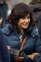© Licensed to London News Pictures. 26/02/2016. London, UK. LAURA ALVERZ, wife of Jeremy Corbyn,  attends a CND (Campaign for Nuclear Disarmament) rally in central London on February 27, 2016. Jeremy Corbyn has been criticised for publicly supporting the CND campaign while Labour Party policy  backs the renewal of Trident nuclear programme. Photo credit: Ben Cawthra/LNP