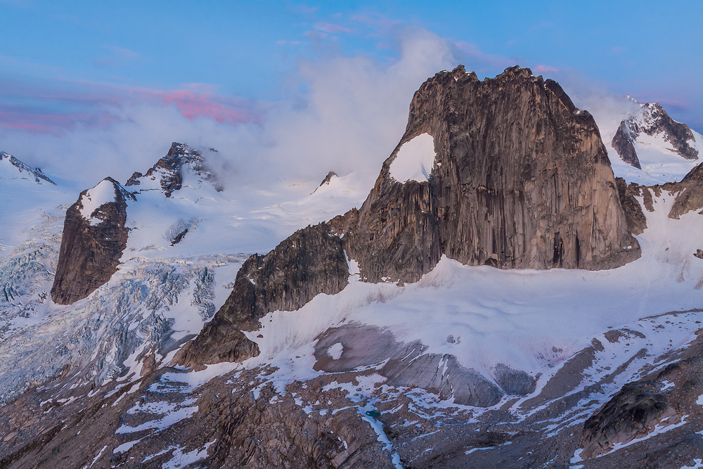 Snowpatch Spire at Sunrise from Eastpost Spire in the Bugaboos