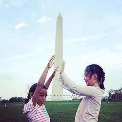 """Katherine Heigl releases a photo on Twitter with the following caption: """"""""The girls made a pit stop in DC on their way to Toronto. @joshbkelley got this great shot at the Washington Monument. It says everything about their personalities! Naleigh tries to hold it up while Adalaide tries to push it down! I ❤ everything about this pic & these girls! ❤️"""""""". Photo Credit: Twitter *** No USA Distribution *** For Editorial Use Only *** Not to be Published in Books or Photo Books ***  Please note: Fees charged by the agency are for the agency's services only, and do not, nor are they intended to, convey to the user any ownership of Copyright or License in the material. The agency does not claim any ownership including but not limited to Copyright or License in the attached material. By publishing this material you expressly agree to indemnify and to hold the agency and its directors, shareholders and employees harmless from any loss, claims, damages, demands, expenses (including legal fees), or any causes of action or allegation against the agency arising out of or connected in any way with publication of the material."""