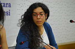 May 5, 2017 - Ankara, Turkey - Dilara Doganbas, a journalist of the opposition media, gives a speech during a session on 'The Status of Women in Journalism' on May 5, 2017 in Ankara, Turkey. As of May 5, 231 journalists were detained since the failed coup and the following introduction of emergency state in Turkey which shows that more journalists are imprisoned than any other country. (Credit Image: © Altan Gocher/Pacific Press via ZUMA Wire)
