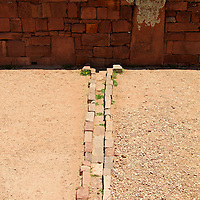 South America, Bolivia, Tiwanaku. Drainage System at Tiwanaku, a rre-Columbian archaeological site and a UNESCO World Heritage Site.