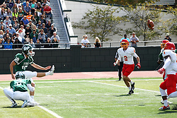 19 September 2015:  Point after kick by Michael Kelley during an NCAA division 3 football game between the Simpson College Storm and the Illinois Wesleyan Titans in Tucci Stadium on Wilder Field, Bloomington IL