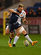 Sale Sharks wing Byron McGuigan kicks the ball through during the The Aviva Premiership match Sale Sharks -V- Exeter Chiefs  at The AJ Bell Stadium, Salford, Greater Manchester, England on Friday, October 27, 2017. (Steve Flynn/Image of Sport)