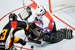 Goalie Tommy Tartaglione of USA stops the puck at IIHF In-Line Hockey World Championships 2011 Top Division quarter final match between National teams of USA and Germany on June 23, 2011, in Pardubice, Czech Republic. (Photo by Matic Klansek Velej / Sportida)