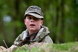 Reenactor from Northern World War Two Association, dressed as a member of the elite Gross Deutschland division,during a private 24hr excerise, held at Sutton Grange, near Ripon in Yorkshire 15  May 2010 .Images © Paul David Drabble.