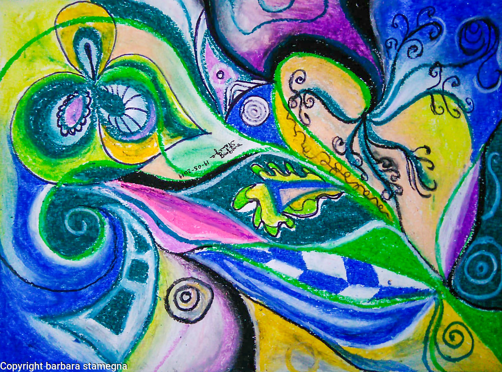 Abstract image with dynamic shapes and forms in movement, in dominant blue and green tones with swirls, circles and concentric shapes, with leaf and flower like shapes and with curved and geometric forms and curls and bended lines, with shades.