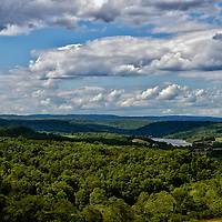 """""""The High Road""""<br /> <br /> <br /> Gaze out into the valleys below with the deep green forests, highlands and lakes. Skies over head cast shadows as the clouds move quickly across the beautiful landscape!!<br /> <br /> Laurel Highlands Area of Pennsylvania by Rachel Cohen"""