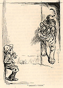 Sarah's Tiger: Sarah Bernhardt (born Henriette Rosine Bernard - 1844-1923) the great French actress had a penchant for exotic pets.  The cartoonist here shows a small boy terrfied by her pet tiger.  Engraving from 'The Strand Magazine' London, 1891.