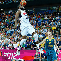 08 August 2012: USA James Harden goes for the dunk during 119-86 Team USA victory over Team Australia, during the men's basketball quarter-finals, at the 02 Arena, in London, Great Britain.