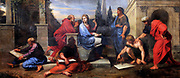 Painting of Aspasia Surrounded by Greek Philosophers by Michel II Corneille.  Oil on canvas. Circa 1680. On display at the palace of Versailles.