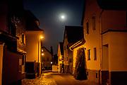 A night scene in Oberursel-Stierstadt illuminated by the moon.