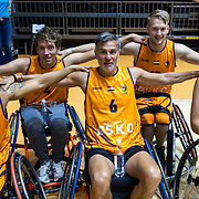 NLD/Rotterdam/20190706 - BN'ers spelen rolstoelbasketbal, team oranje met oa Viggo Waas, Manuel Venderbos en Jan Willem Roodbeen