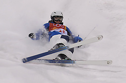 South Korea's Jee Won Seo crashes on landing in the Freestyle Skiing Ladies' Moguls practice during a preview day at the Phoenix Snow Park, ahead of the PyeongChang 2018 Winter Olympic Games in South Korea.