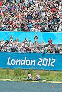 Eton Dorney, Windsor, Great Britain,..2012 London Olympic Regatta, Dorney Lake. Eton Rowing Centre, Berkshire.  Dorney Lake.  ..Final Women's Double Scull, GBR W2X, Bow Anna WATKINS and Katherine GRAINGER..13:11:28  Friday  03/08/2012 [Mandatory Credit: Peter Spurrier/Intersport Images]