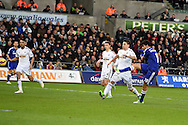 Diego Costa of Chelsea  scores his teams 2nd goal. Barclays Premier League match, Swansea city v Chelsea at the Liberty Stadium in Swansea, South Wales on Saturday 17th Jan 2015.<br /> pic by Andrew Orchard, Andrew Orchard sports photography.