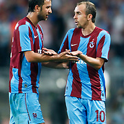 Trabzonspor's Adrian MIERZEJEWSKI (R) during their UEFA Champions League third qualifying round, second leg, soccer match Trabzonspor between Benfica at the Ataturk Olimpiyat Stadium at İstanbul Turkey on Wednesday, 03 August 2011. Photo by TURKPIX