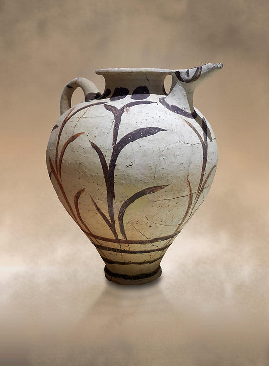 Minoan clay polychrome pithoid jar with reed decoration, Akrotiri, Thira (Santorini) National Archaeological Museum Athens. .<br /> <br /> If you prefer to buy from our ALAMY PHOTO LIBRARY  Collection visit : https://www.alamy.com/portfolio/paul-williams-funkystock/minoan-art-artefacts.html . Type -   Athens    - into the LOWER SEARCH WITHIN GALLERY box. Refine search by adding background colour, place, museum etc<br /> <br /> Visit our MINOAN ART PHOTO COLLECTIONS for more photos to download  as wall art prints https://funkystock.photoshelter.com/gallery-collection/Ancient-Minoans-Art-Artefacts-Antiquities-Historic-Places-Pictures-Images-of/C0000ricT2SU_M9w