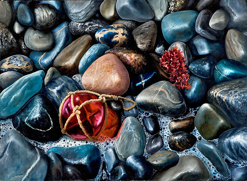 Polished stones in varied shades of black line the ocean beaches of Maine.  Inspired by the shores around Portland and Acadia National Park, this painting juxtaposes a single glass buoy against the unyielding stones. <br /> 25 x 38, oil on panel