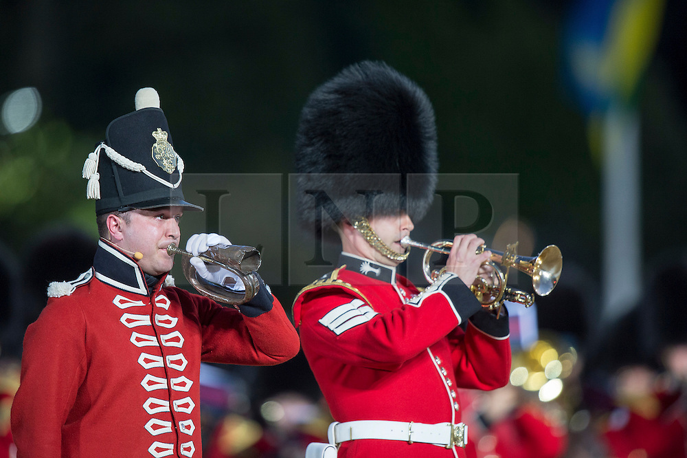 © London News Pictures. 10/06/2015. London, UK. Waterloo 200 themed open air Beating Retreat, performed on Horseguards Parade in London. Photo credit: Sergeant Rupert Frere/LNP