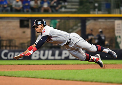 May 9, 2018 - Milwaukee, WI, U.S. - MILWAUKEE, WI - MAY 09: Cleveland Indians Shortstop Francisco Lindor (12) slides into 2nd during a MLB game between the Milwaukee Brewers and Cleveland Indians on May 9, 2018 at Miller Park in Milwaukee, WI.The Indians defeated the Brewers 6-2.(Photo by Nick Wosika/Icon Sportswire) (Credit Image: © Nick Wosika/Icon SMI via ZUMA Press)