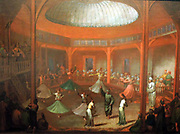 Whirling Dervishes by Jean Baptiste Vanmour (1671-1737) oil on canvas, c 1720-1737.  Dervishes occupied a special place in religiously tolerant Istanbul.  Through prayer, music and ecstatic dance, they tried to enter into a trance and thus come into contact with Allah.  Twice a week they performed this dance ceremony, which visitors were allowed to watch.  Vanmour must have regularly sat in the gallery to study the whirling of the dervishes.
