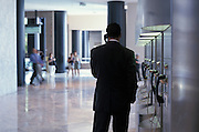 businessman on the phone in lobby