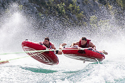 17.07.2019, Sankt Gilgen, AUT, OeSV, Pressetermin Herren Speed Team, Wasserskifahren und Wakesurfen beim Wolfgangsee, im Bild v.l. Vincent Kriechmayr, Johannes Kröll // f.l. Vincent Kriechmayr Johannes Kröll during a press conference of the Austrian Ski Association (OeSV), Mens Speed Team waterskiing and wakesurfing at the Wolfgangsee Sankt Gilgen, Austria on 2019/07/17. EXPA Pictures © 2019, PhotoCredit: EXPA/ Johann Groder