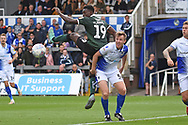 Freddie Ladapo (19) of Plymouth Argyle flicks the ball on during the EFL Sky Bet League 1 match between Bristol Rovers and Plymouth Argyle at the Memorial Stadium, Bristol, England on 8 September 2018.