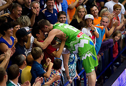 Gezim Morina of Slovenia celebrates with  Erjon Kastrati after winning the basketball match between National teams of Turkey and Slovenia in Qualifying Round of U20 Men European Championship Slovenia 2012, on July 17, 2012 in Domzale, Slovenia. Slovenia defeated Turkey 72-71 in last second of the game. (Photo by Vid Ponikvar / Sportida.com)