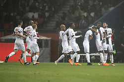 PARIS, April 30, 2018  Players from Guingamp celebrate their goal during the match against Paris Saint-Germain of French Ligue 1 2017-18 season 35th round in Paris, France on April 29, 2018. Paris Saint-Germain equals Guingamp with 2-2 at home. (Credit Image: © Jack Chan/Chine Nouvelle/Xinhua via ZUMA Wire)