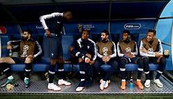 France's Adil Rami (left to right), France's Ousmane Dembele, France's Djibril Sidibe, France's Nabil Fekir, France's Thomas Lemar and France's Corentin Tolisso in the dugout