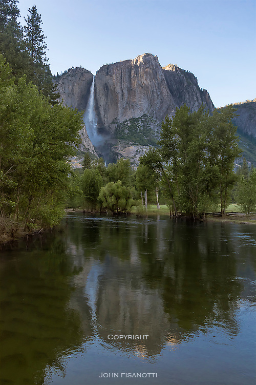 A record snow pack pours over Yosemite Falls in 2017
