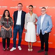 NLD/Amsterdam/20190509 -  Zoe Saldana bij finale van de Chivas Venture, Cemal Ezel, Zoe Saldana en Alexandre Ricard,  Sonal Shah