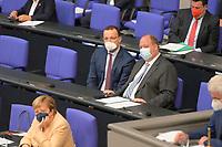 DEU, Deutschland, Germany, Berlin, 07.09.2021: Bundesgesundheitsminister Jens Spahn (CDU) und Kanzleramtsminister Helge Braun (CDU) auf der Regierungsbank im Deutschen Bundestag.