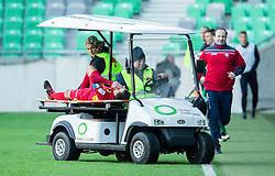 Rusmin Dedic #27 of Rudar injured during football match between NK Olimpija and NK Rudar in 23rd Round of Prva liga Telekom Slovenije 2014/15, on March 7, 2015 in SRC Stozice, Ljubljana, Slovenia. Photo by Vid Ponikvar / Sportida