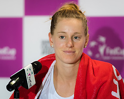 November 10, 2018 - Prague, Czech Republic - Alison Riske of the United States talks to the media at the 2018 Fed Cup Final between the Czech Republic and the United States of America (Credit Image: © AFP7 via ZUMA Wire)