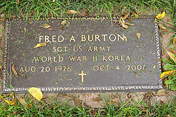 31 August 2017:   Veterans graves in Park Hill Cemetery in eastern McLean County.<br /> <br /> Fred Burton Sergeant US Army World War II Korea Aug 20 1926 Oct 4 2007