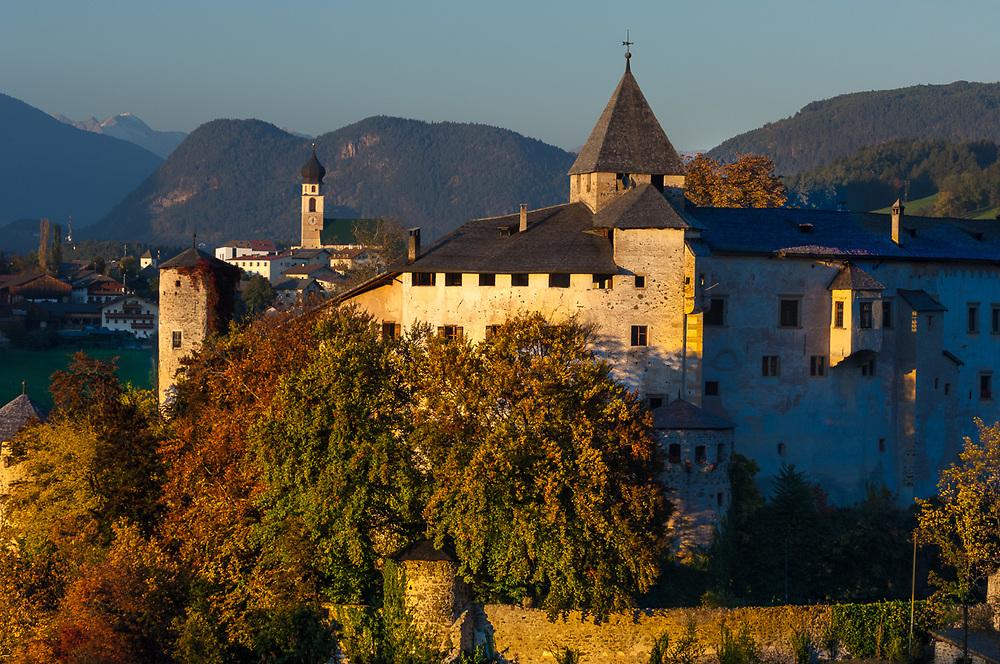Evening light, October, Castello Presule, Dolomite Mountains,  Province of Bolzano-Bozen, South Tyrol, Vols, Italy