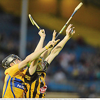 15 September 2012; John Power, Kilkenny, in action against David McInerney, Clare. Bord Gáis Energy GAA Hurling Under 21 All-Ireland 'A' Championship Final, Clare v Kilkenny, Semple Stadium, Thurles, Co. Tipperary. Picture credit: Diarmuid Greene / SPORTSFILE