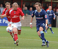 Photo: Paul Greenwood.<br />Accrington Stanley v Swindon Town. Coca Cola League 2. 07/10/2006.<br />Accrington's Ian Craney closes down on Andy Monkhouse (R).