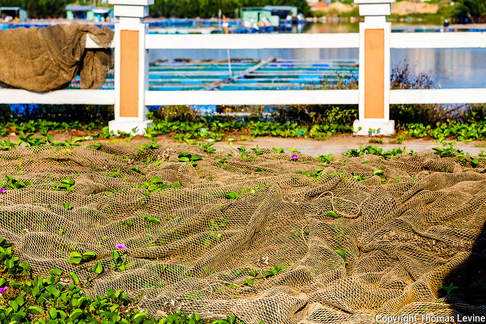 Nets Drying next to a river fishery in Hoi An, Vietnam,